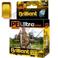 Плетеный шнур PE Ultra Brilliant Stoic Ultra Yellow 135 m 0.18 mm